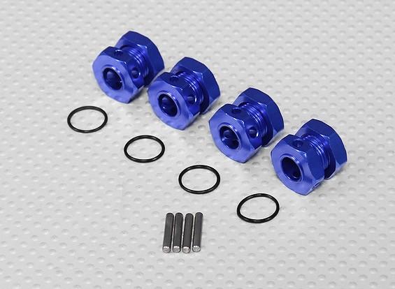 Bleu en aluminium anodisé 1/8 Les adaptateurs de roues avec pneus Stopper Nuts (17mm Hex - 4pc)