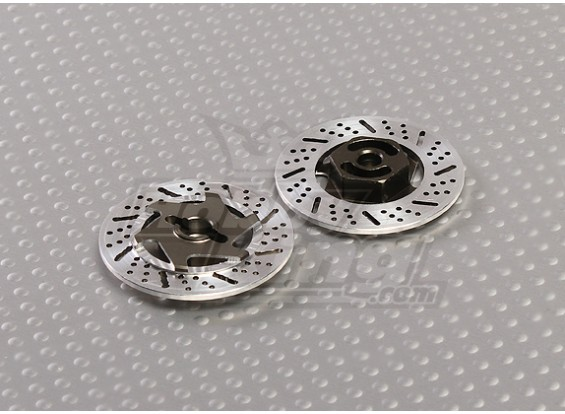 1/10 adaptateurs Disc Brake Wheel 12mm Hex (Titane Finition - 2pc)