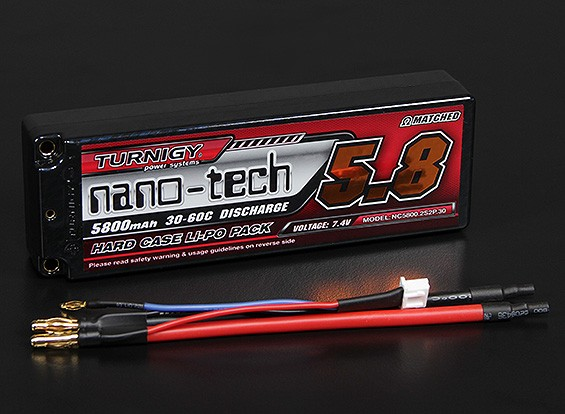 Turnigy nano-tech 5800mAh 2S2P 30 ~ 60C Hardcase Lipo Pack (ROAR APPROUVÉ)