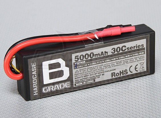 Batterie B-Grade 5000mAh 2S 30C Hardcase Lipoly