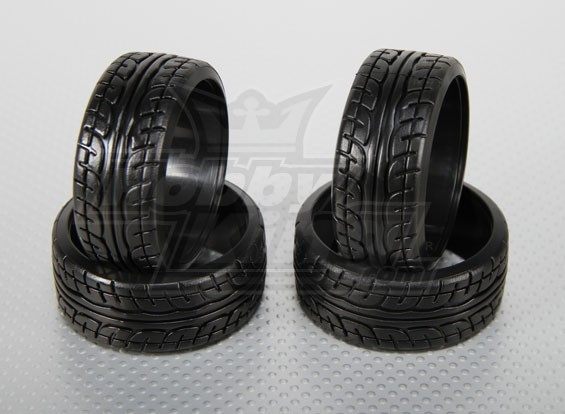 1:10 Echelle plastique dur Drift Tires w / bande de roulement RC 26mm de voiture (4pcs / set)