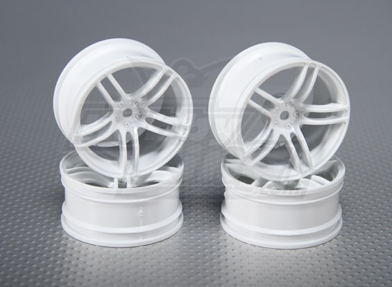 Échelle 1:10 Set de roue (4pcs) Blanc de Split 5-Spoke RC 26mm de voiture (3mm offset)