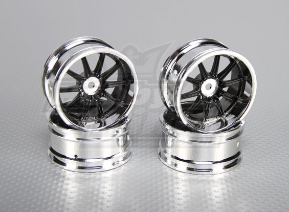 Échelle 1:10 Set de roue (4pcs) Chrome / Noir 10-Spoke 26mm de voiture RC (6mm offset)