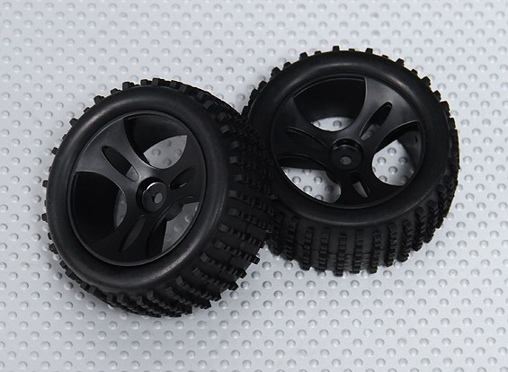 Roue / Tire complète (2pcs / sac) - 1/18 4WD RTR Racing Buggy