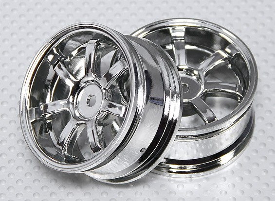 Échelle 1:10 Wheel Set (2pcs) Chrome 7-Spoke RC 26mm de voiture (3mm offset)