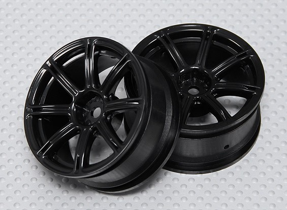 Échelle 1:10 Wheel Set (2pcs) Noir 7-Spoke 26mm de voiture RC (pas de décalage)