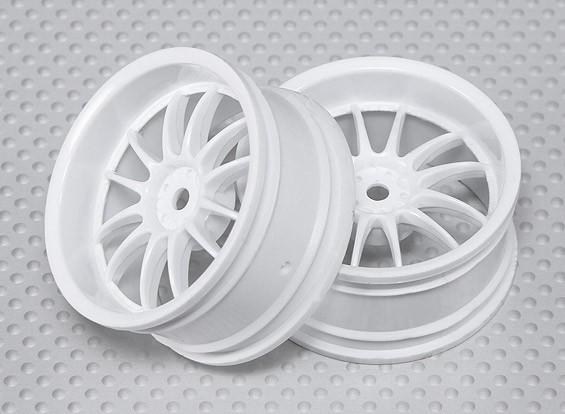 Échelle 1:10 Set de roue (2pcs) Blanc de Split 6-Spoke RC 26mm de voiture (3mm offset)