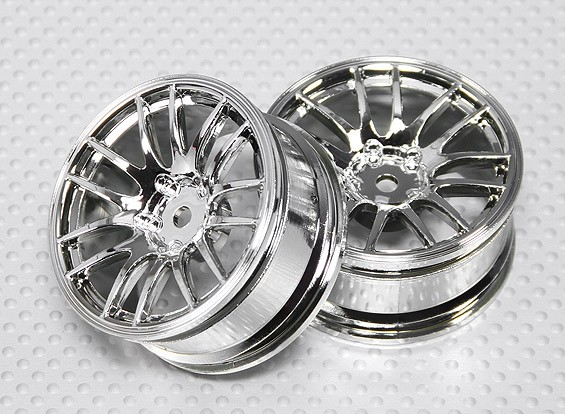 Échelle 1:10 Set de roue (2pcs) Chrome Split 7-Spoke RC 26mm de voiture (3mm offset)