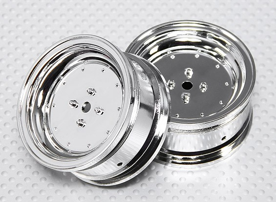 Échelle 1:10 Set de roue (2pcs) Chrome Dish style RC 26mm de voitures (pas de décalage)