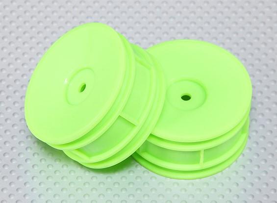 Échelle 1:10 Wheel Set (2pcs) Fluorescent Vert Dish RC 26mm de voitures (Pas de décalage)