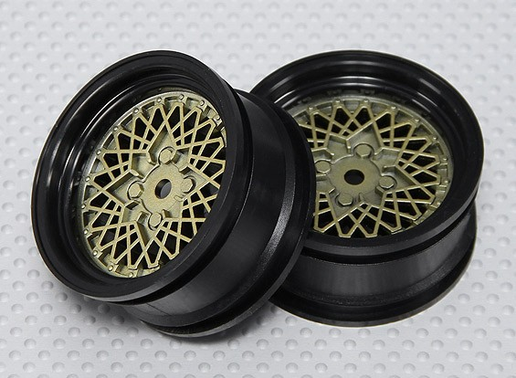 Échelle 1:10 Set de roue (2pcs) Or / Noir Hot Wire RC 26mm de voiture (No Offset)