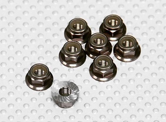 Titane Couleur aluminium anodisé M5 Nylock écrous de roue w / dentelée Bride (8pcs)