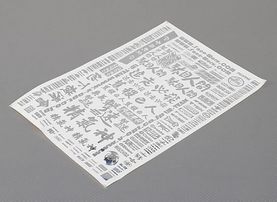 Auto-adhésif Decal Sheet - Sponsor 1/10 Scale (Argent)