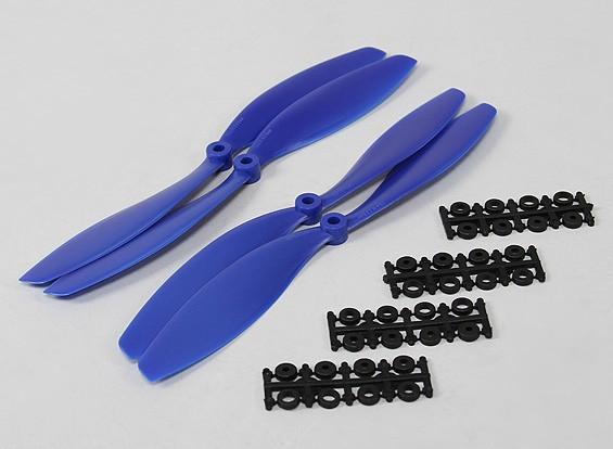 HobbyKing slowfly Hélice 10x4.5 Bleu (CW / CCW) (4pcs)