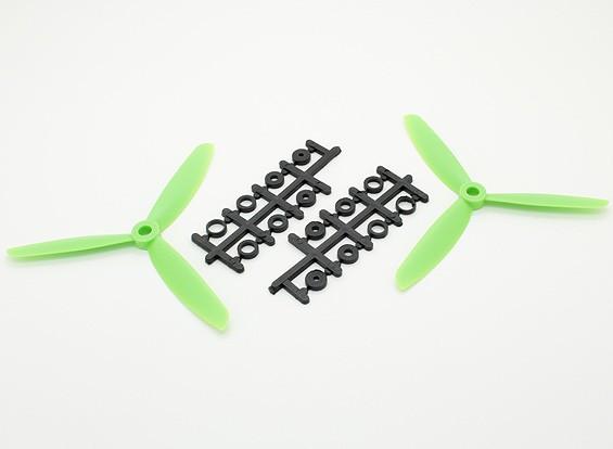 HobbyKing ™ 3-Blade Hélice 5x4.5 Green (CW / CCW) (2pcs)
