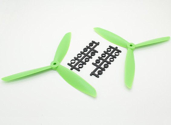 HobbyKing ™ 3-Blade Hélice 8x4.5 Green (CW / CCW) (2pcs)