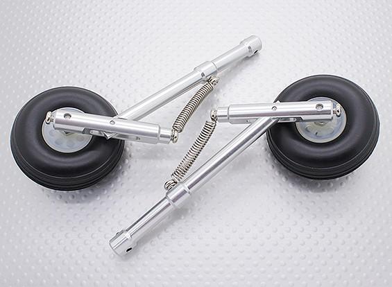 Alloy Oleo Strut Set avec roues en caoutchouc et pneus (104mm Longueur, 4mm Pin de montage)