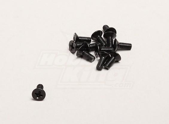 3x8mm Flat Head Cross Screw (12pcs / sac) - Turnigy Trailblazer 1/8, XB et XT 1/5