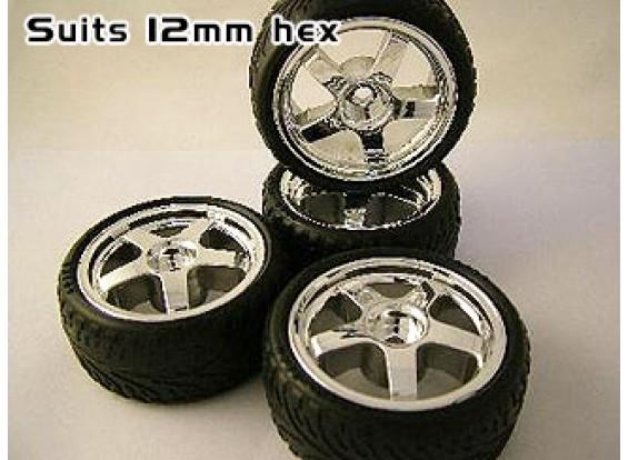 Chrome Effet 26mm Wheels 12mm Hex