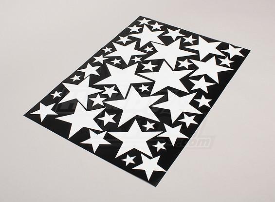 Étoile Blanc / Noir Divers Tailles Decal Sheet 425mmx300mm