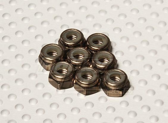 Titane Couleur aluminium anodisé M4 Nylock Nuts (8pcs)