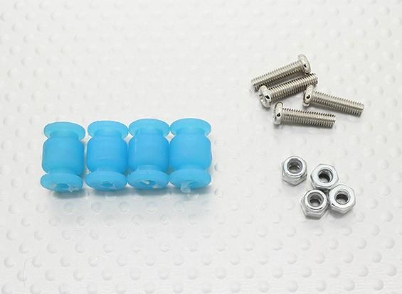General Purpose Anti-Vibration caoutchouc w / M3 x 11mm Vis et M3 Nylock Nut - 4pcs / set