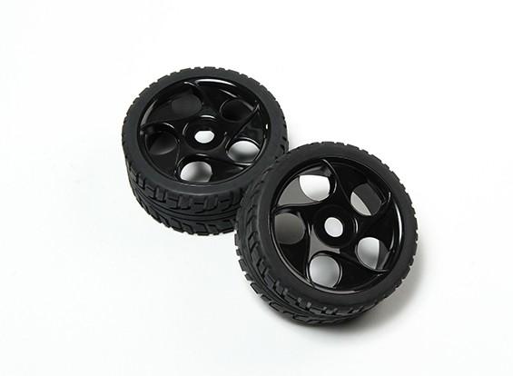 HobbyKing® 1/8 étoile Rayon Noir Roues et 17mm de pneu sur route Hex (2pc)