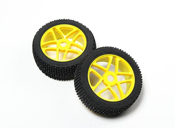 HobbyKing® 1/8 étoile jaune roues et pneus hors-route 17mm Hex (2pc)
