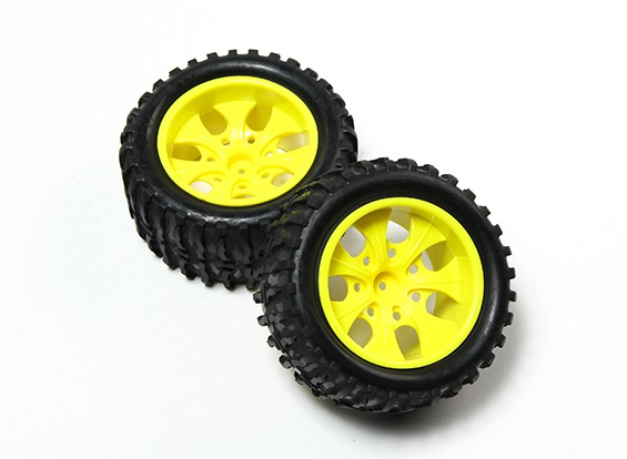 HobbyKing® 1/10 Monster Truck 7 Spoke Fluorescent Jaune Roue & Motif en vagues pneus (2pc)