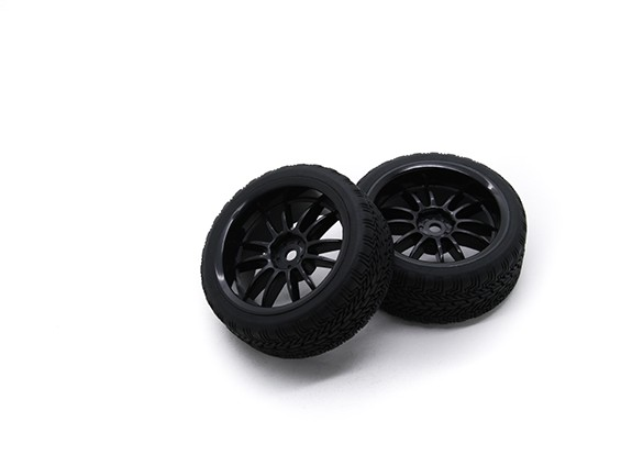 HobbyKing 1/10 Roue / Pneu Set AF Rally Spoke Rear (Black) RC 26mm de voitures (2pcs)