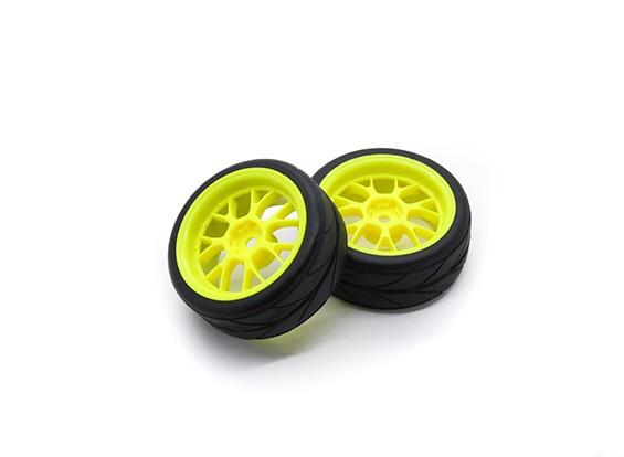 HobbyKing 1/10 Roue / Pneu Set VTC Y Spoke (Jaune) RC 26mm de voitures (2pcs)