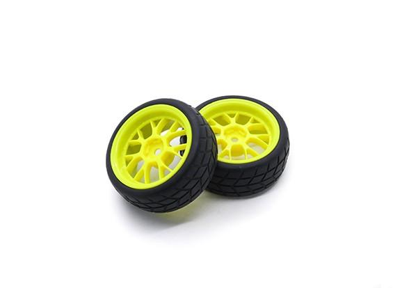HobbyKing 1/10 Roue / Pneu Set VTC Y Spoke arrière (jaune) RC 26mm de voitures (2pcs)