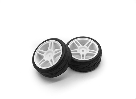 HobbyKing 1/10 Roue / Pneu Set VTC étoile Spoke (Blanc) RC 26mm de voitures (2pcs)