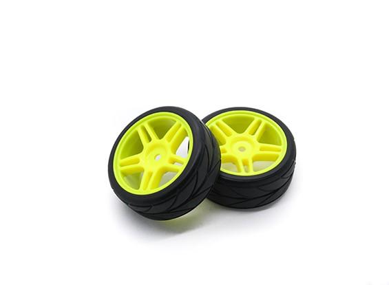 HobbyKing 1/10 Roue / Pneu Set VTC étoile Spoke (Jaune) RC 26mm de voitures (2pcs)