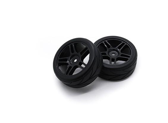 HobbyKing 1/10 Roue / Pneu Set VTC étoile Spoke (Noir) RC 26mm de voitures (2pcs)