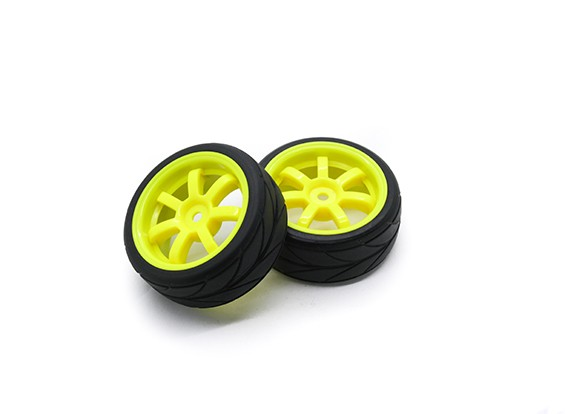HobbyKing 1/10 Roue / Pneu Set VTC 6 Spoke (Jaune) RC 26mm de voitures (2pcs)