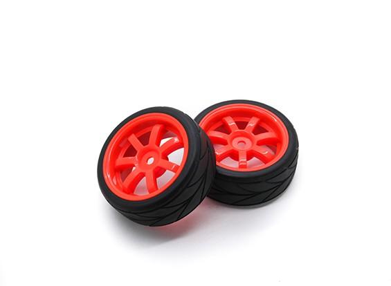 HobbyKing 1/10 Roue / Pneu Set VTC 6 Spoke (Rouge) RC 26mm de voitures (2pcs)