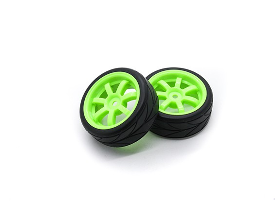 HobbyKing 1/10 Roue / Pneu Set VTC 6 Spoke (Vert) RC 26mm de voitures (2pcs)