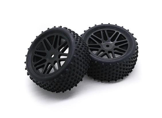 HobbyKing 1/10 aérateur Y-Spoke arrière (Noir) Roue / 12mm Tire Hex (2pcs / Sac)