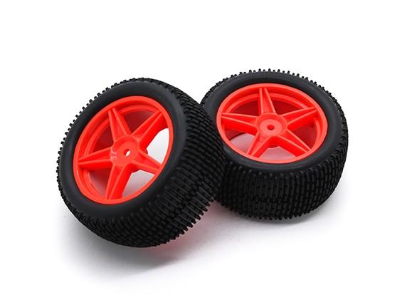 HobbyKing 1/10 gekkota 5 rayons arrière (Rouge) Roue / 12mm Tire Hex (2pcs / Sac)