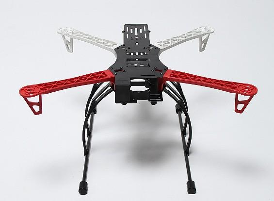 Cadre REPTILE500-V3 Quad-Copter Avec engrenage Crab Landing (Blanc / Rouge)