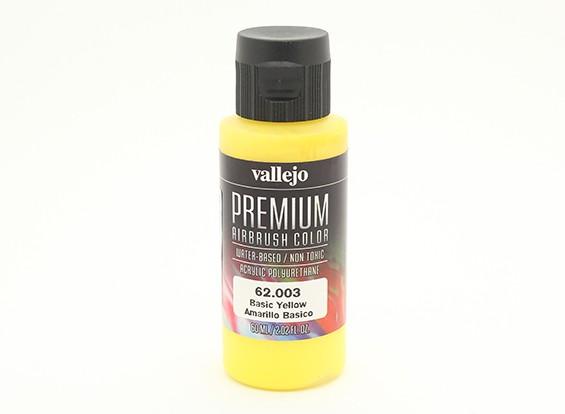 Peinture acrylique de couleur Vallejo Premium - Jaune de base (60ml)