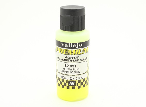 Peinture acrylique de couleur Vallejo Premium - Jaune Fluo (60ml)