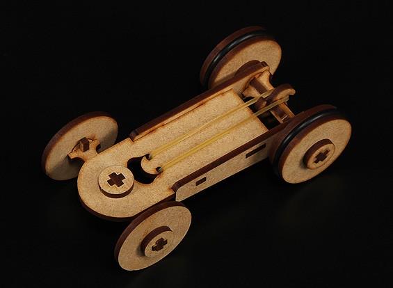 Rubber Band Car Laser Cut Bois Modèle (Kit)