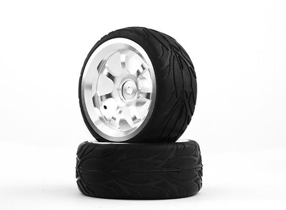 HobbyKing 1/10 aluminium à 7 rayons 12mm Wheel Hex (Argent) / Fire 26mm Tire (2pcs / sac)