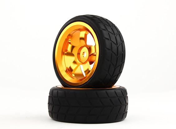 HobbyKing 1/10 aluminium à 5 rayons 12mm Wheel Hex (or) / VTC 26mm des pneus (2pcs / sac)