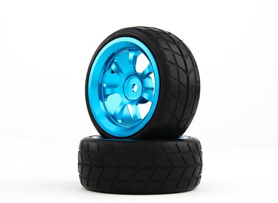 HobbyKing 1/10 aluminium à 7 rayons 12mm Wheel Hex (Bleu) / VTC 26mm des pneus (2pcs / sac)