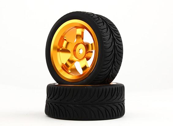 HobbyKing 1/10 aluminium à 5 rayons 12mm Wheel Hex (or) / YY 26mm Tire (2pcs / sac)