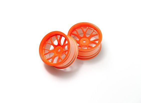 01:10 Wheel Set 'Y' 7-Spoke Fluorescent Orange (9mm Offset)