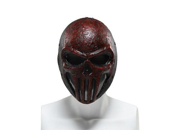 FMA Wire Mesh masque complet (Skull Punisner, Rouge)